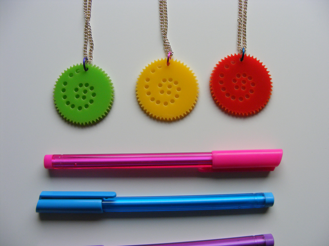 Colourful Circular Drawing set pendant necklace, inspired by Spirograph