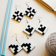"Black and White Grid Earrings ""Norwegian Plastic"" laser cut"