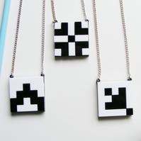 "Black and White Grid Pendant ""Norwegian Plastic"" Laser Cut"