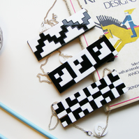 "Black and white Bib Necklace ""Norwegian Plastic"" laser cut"