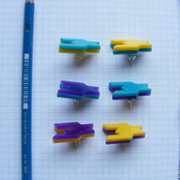 Geometric Houndstooth earrings, laser cut Perspex. Yellow, Turquoise and Purple