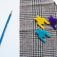 Geometric Houndstooth brooch, laser cut Perspex. Yellow, Turquoise or Purple
