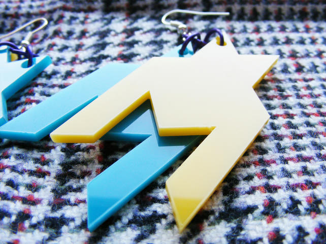 Geometric Dangle Houndstooth Earrings, laser cut Perspex. Yellow, Turquoise and