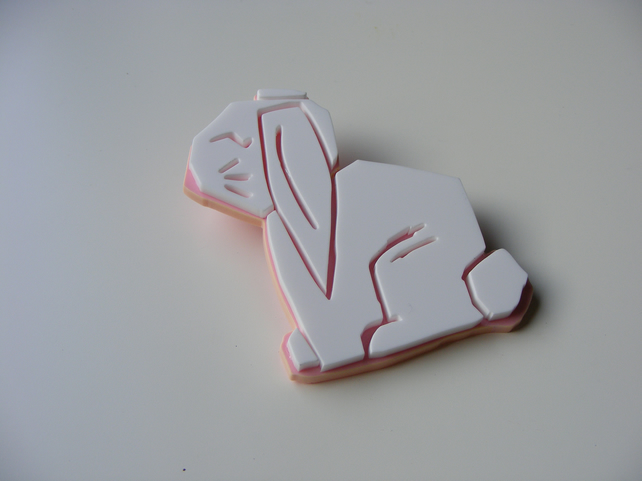 White rabbit laser cut brooch