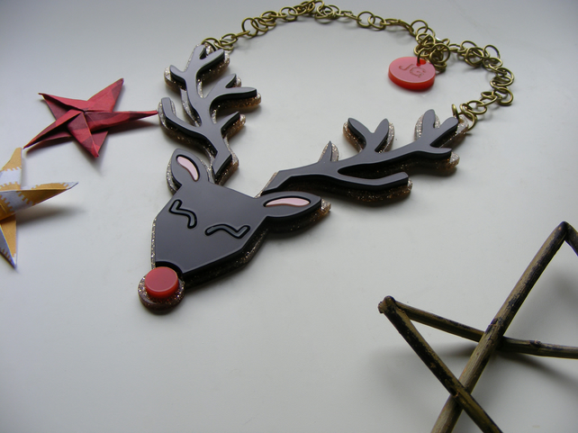 Reindeer Christmas Statement Necklace - Laser cut perspex