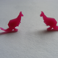Origami Kangaroo Earrings - Orange or Pink - Laser Cut