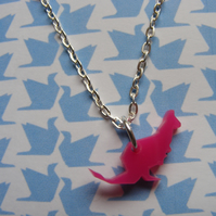 Origami Kangaroo Pendant - Orange or Pink - Laser Cut