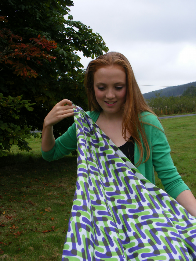 Screen Printed Silk Scarf one-off green and purple