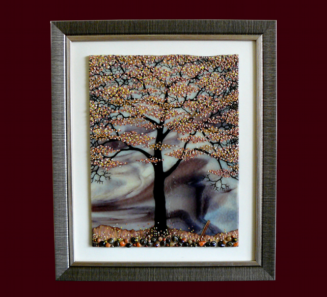 HANDMADE FUSED GLASS 'AUTUMN TREE' PICTURE.