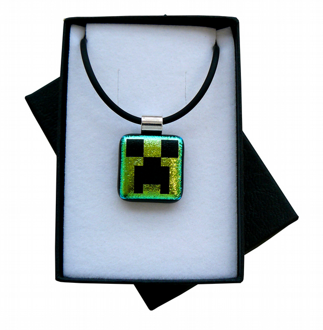 HANDMADE FUSED DICHROIC GLASS MINECRAFT INSPIRED 'CREEPER' PENDANT.