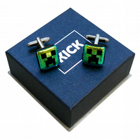 HANDMADE FUSED GLASS MINECRAFT INSPIRED 'CREEPER' CUFF-LINKS.