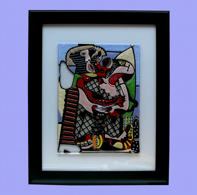Handmade Fused Glass Picasso 'The Kiss' Painting