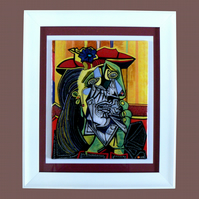 Handmade Fused Glass Picasso 'Weeping Woman' Painting