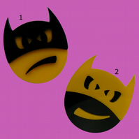 VERY VERY LIMITED EDITION HANDMADE  CARTOON: 'EMOJI BATMAN' BROOCH,BADGE