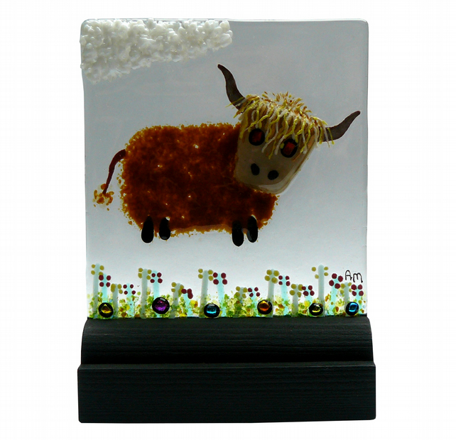 UNIQUE: Handmade Fused Glass 'HIGHLAND COW' Picture.