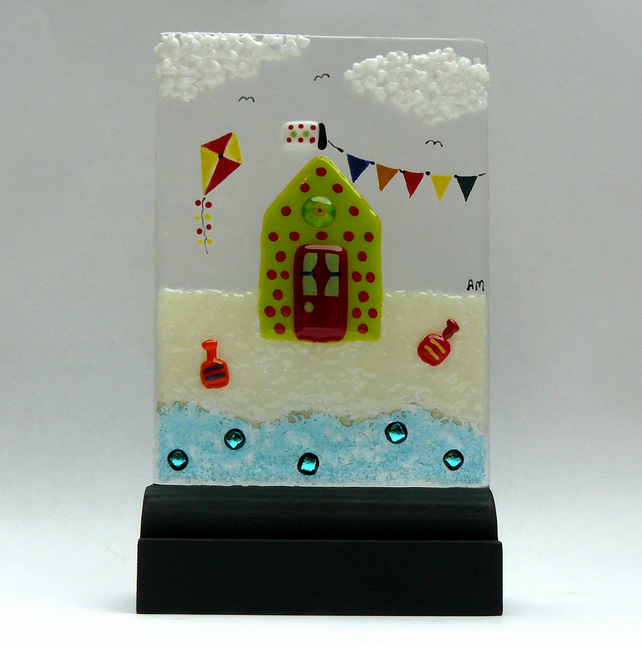 UNIQUE: Handmade Fused Glass 'BEACH HUT' Picture.