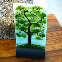 UNIQUE: Handmade Fused Glass 'SPRING TREE' Picture.