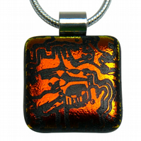 HANDMADE FUSED DICHROIC GLASS 'ZOO' PENDANT.