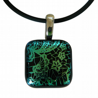 HANDMADE FUSED DICHROIC GLASS 'LACE' PENDANT.