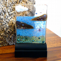 UNIQUE: Handmade Fused Glass 'LITTLE BOATS' Picture.