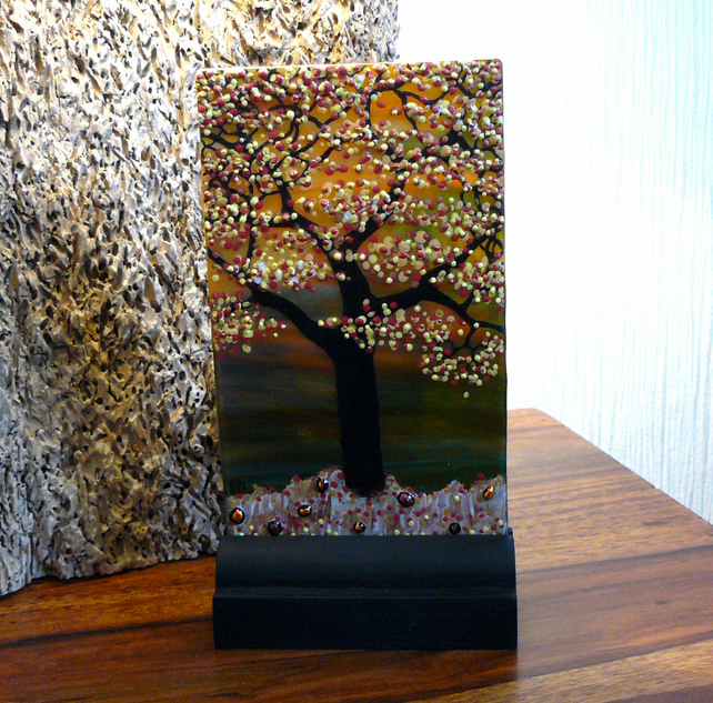 UNIQUE: Handmade Fused Glass 'AUTUMN TREE' Picture.