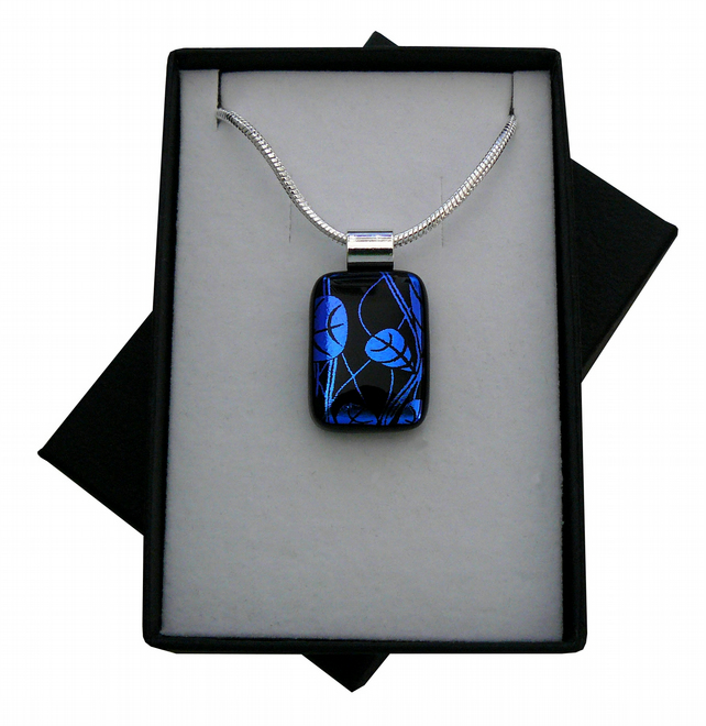 HANDMADE FUSED DICHROIC GLASS 'LEAF' PENDANT.