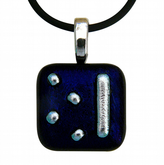 HANDMADE FUSED DICHROIC GLASS 'DOT' PENDANT.