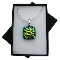 HANDMADE FUSED DICHROIC GLASS 'RETRO' PENDANT.