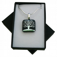 HANDMADE FUSED DICHROIC GLASS 'TREE SILHOUETTE' PENDANT.