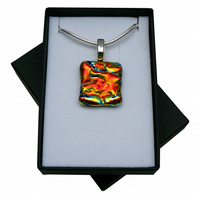 HANDMADE FUSED DICHROIC GLASS 'FIRE' PENDANT.