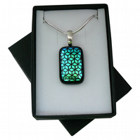 HANDMADE FUSED DICHROIC GLASS 'CUBE' PENDANT.