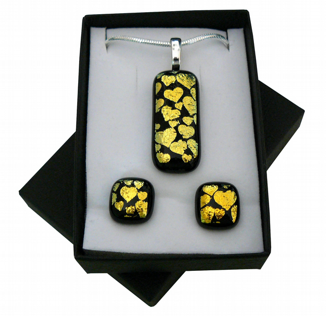 Handmade Dichroic Glass 'HEARTS' Pendant & Earrings.