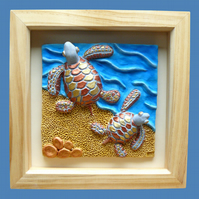 HANDMADE CERAMIC 'SWIMMING TURTLES' PICTURE.