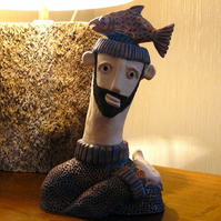 HANDMADE CERAMIC 'MAN & TROUT' PICTURE.