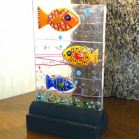 UNIQUE: Handmade Fused Glass 'FISHES' Picture.
