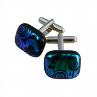 HANDMADE FUSED GLASS 'LOONY TOON' CUFFLINKS.
