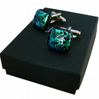 HANDMADE FUSED GLASS 'SWIRL' CUFFLINKS.