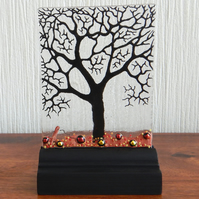 UNIQUE: Handmade Fused Glass 'WINTER TREE' Picture.
