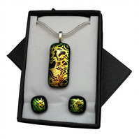Handmade Dichroic Glass 'SWIRL' Pendant & Earrings.