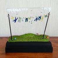 UNIQUE: Handmade Fused Glass 'BABY BOY' Picture.