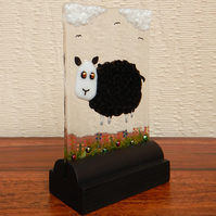 UNIQUE: Handmade Fused Glass 'LITTLE BLACK LAMB' Picture.