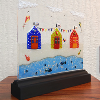 UNIQUE: Handmade Fused Glass 'Beach Huts' Picture.