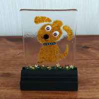 UNIQUE: Handmade Fused Glass 'PUPPY' Picture.