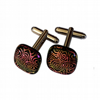 HANDMADE FUSED GLASS 'TWIRL' CUFFLINKS.
