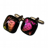 HANDMADE FUSED GLASS 'PINK 'LEAF' CUFFLINKS.