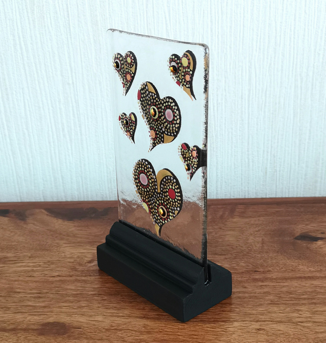 UNIQUE: Handmade Fused Glass 'LOVE YOU' Picture.