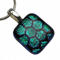 HANDMADE FUSED DICHROIC GLASS 'HONEYCOMB' PENDANT.