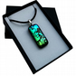 HANDMADE FUSED DICHROIC GLASS 'GREEN LOONY TOON' PENDANT.