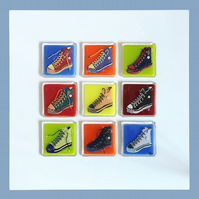 Handmade Fused Glass 'TRAINERS' Inspired by Andy Warhol.