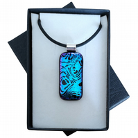 HANDMADE FUSED DICHROIC GLASS 'BLUE WAVE' PENDANT.